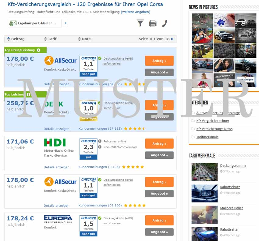 Opel Corsa Versicherung Beispiel