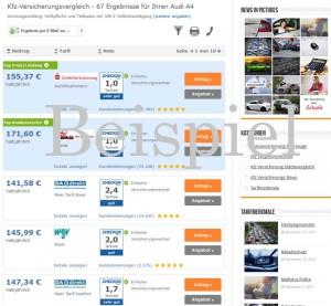 Audi A4 Versicherung Beispiel