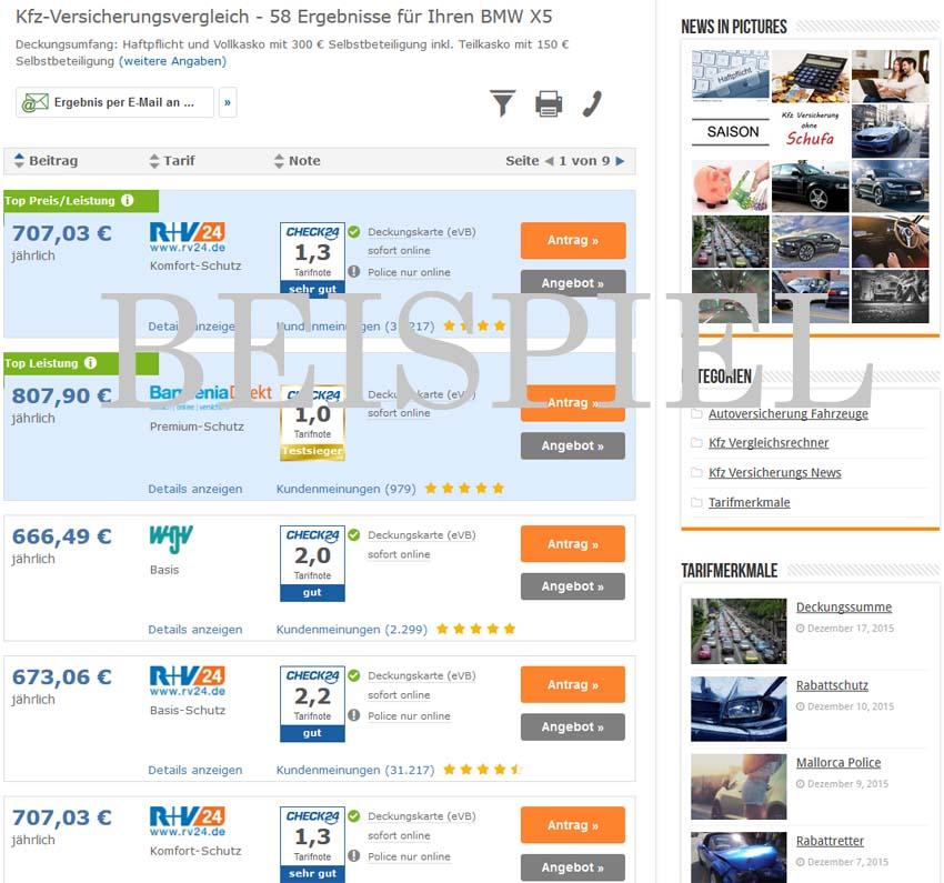 BMW X5 Versicherung Beispiel