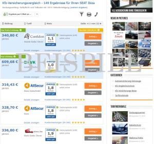 Seat Ibiza Versicherung Beispiel